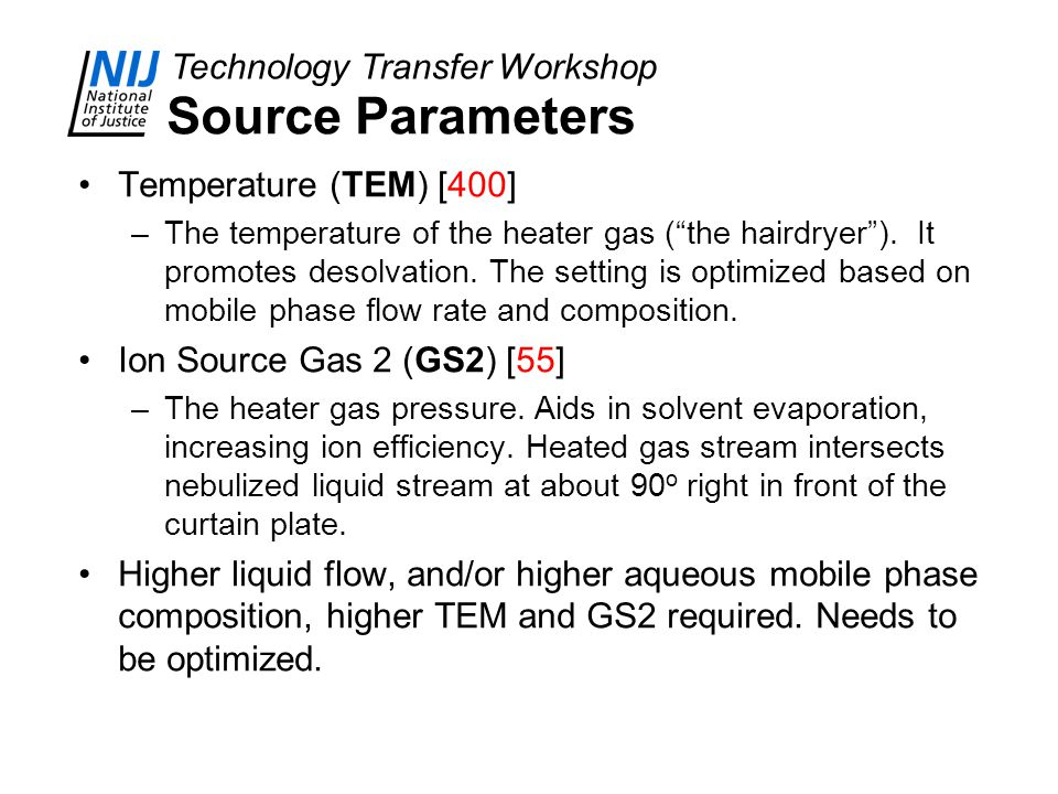 Source Parameters Temperature (TEM) [400] Ion Source Gas 2 (GS2) [55]